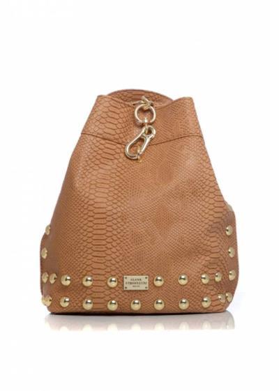 627e27c3ad Elena Athanasiou - Black n Metal Backpack Croco Pattern Brown -