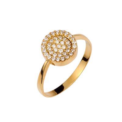 Δαχτυλίδι σε χρυσό Κ14 με λευκές πέτρες ζιργκόν D-0015G2 fbaac18ce88