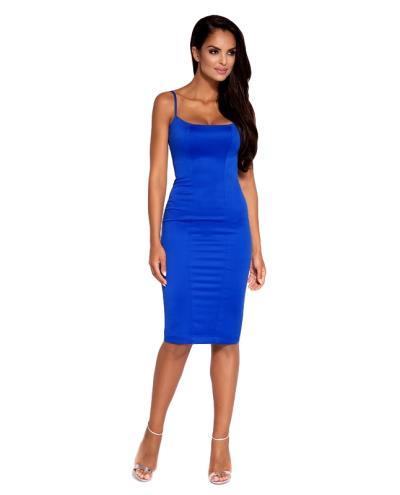 dab2a00fc42a 60049 DR Σατέν κομψό μίντι φόρεμα - Μπλέ ρουά