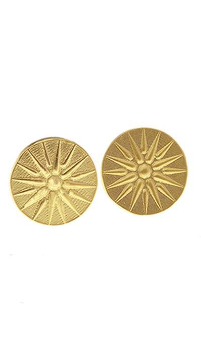 Σκουλαρίκια καρφωτά χρυσό ασήμι 925 με τον ήλιο της Βεργίνας 40adafc152b