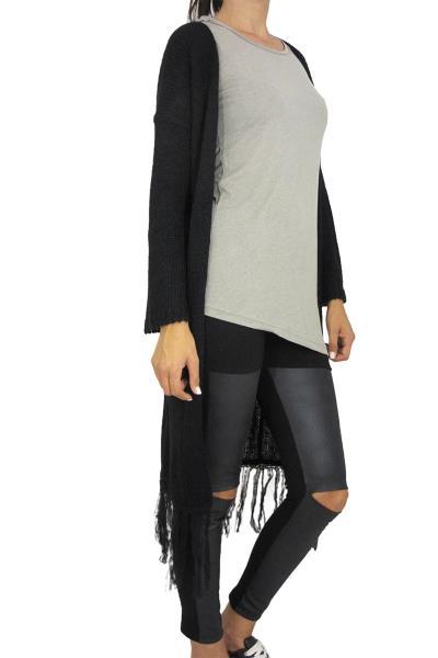 9e80a9642d63 Agel Knitwear μακριά πλεκτή ζακέτα μαύρη με κρόσια - w15545-blk