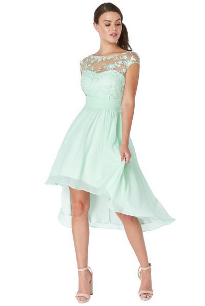 a34098a5351d αέρινο φόρεμα δαντέλα 3d floral high low σε mint