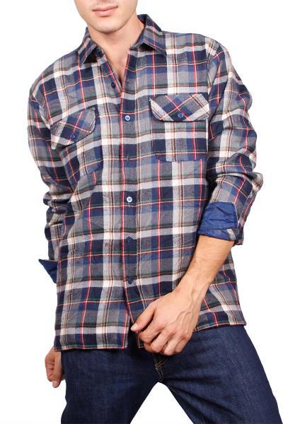 30e176342bf4 Επενδυμένο vintage καρό πουκάμισο φανέλα μπλε - vgs-15661-bl