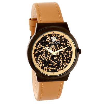 SEASON TIME New Dazzling Series Brown Leather Strap 6-3-20-6 afa7d78ca79