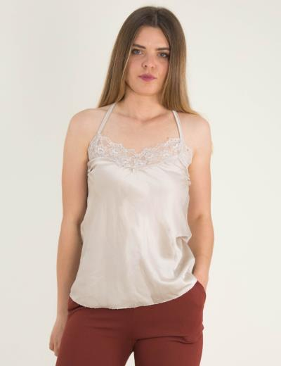 18abf05ea4c9 Γυναικεία εκρού σατέν μπλούζα ραντάκι δαντέλα 9502Q