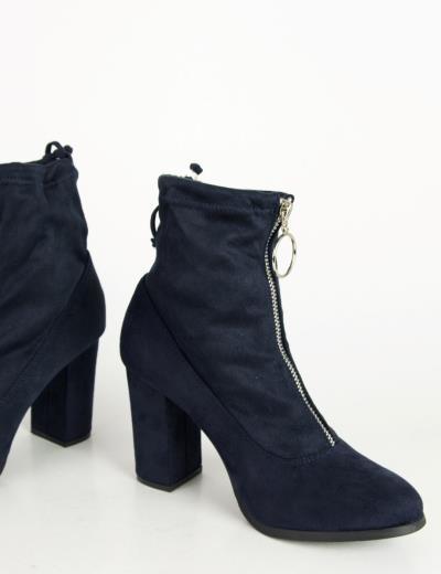 2b1000c8f86 Γυναικεία μπλε σουέντ μποτάκια κάλτσα κρίκος φερμουάρ C7179K