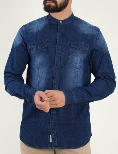 e5d0df576ed2 Ανδρικό μπλε τζιν πουκάμισο ξεβαμμένο τσεπάκια 5485