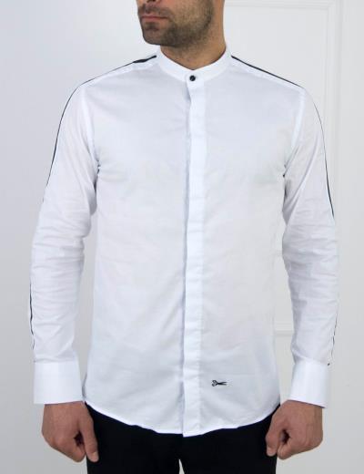 baa3812445c Ανδρικό λευκό πουκάμισο μαύρη ρίγα μάο γιακάς Ben Tailor 1099L