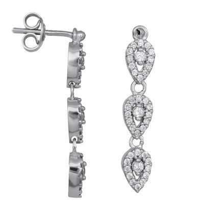 ea5aabed4c Γυναικεία σκουλαρίκια Κ9 λευκόχρυσα με ζιργκόν 028606 028606 Χρυσός 9  Καράτια