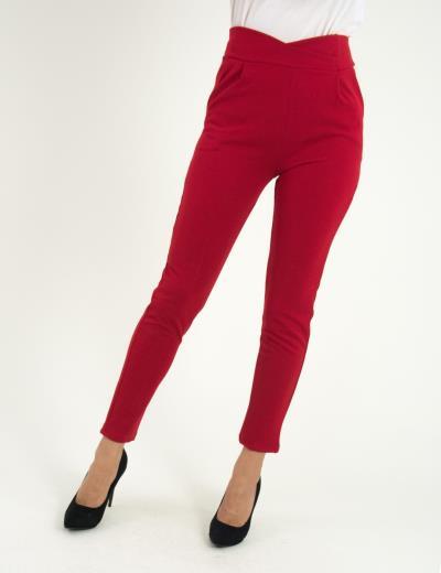 33fbbd1e2c7e Γυναικείο κόκκινο ψηλόμεσο παντελόνι με τσέπες So Sexy 41148Q