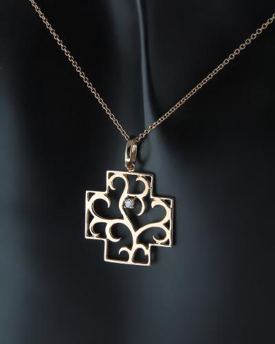 Κολιέ σταυρός ροζ χρυσός Κ18 με Διαμάντι b592e3ab1bd