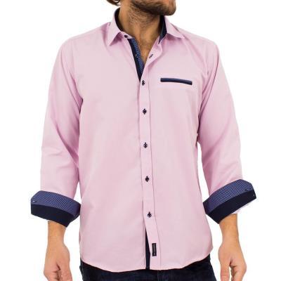 29914813a4b5 Ανδρικό Μακρυμάνικο Πουκάμισο Regular Fit Canadian Shirts 2350-3 ανοικτό Ροζ