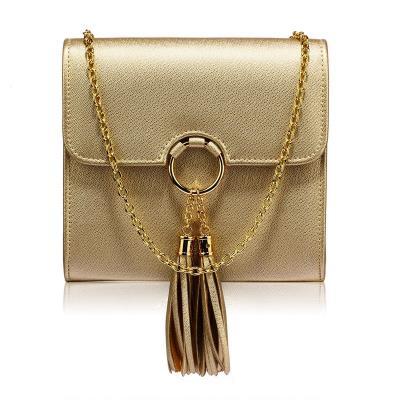 86dcb8461d 1405 LS Γυναικείο τσαντάκι clutch με φουντάκια - χρυσό