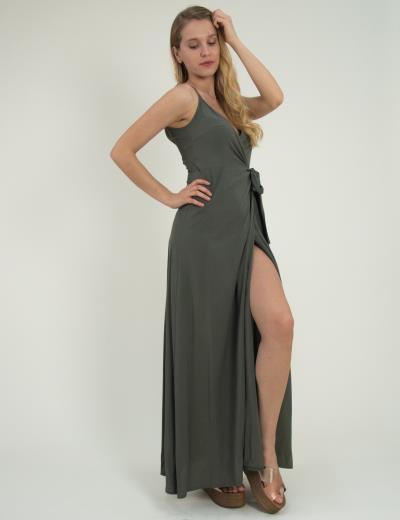 Γυναικείο μάξι φόρεμα κρουαζέ ραντάκι μονόχρωμο λαδί 014000100R fed4ff2adfd