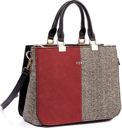 Γυναικεία τσάντα χεριού-ώμου Verde 16-0004878 σε μπορντώ χρώμα έως 6 άτοκες  δόσε 3875a9dde55