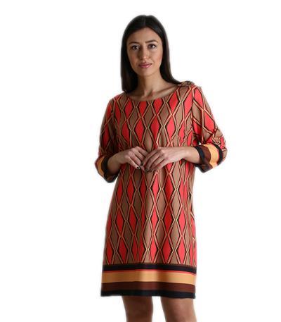 Φόρεμα μίντι με 3 4 μανίκια και τύπωμα ρόμβους (Κόκκινο-Καφέ) 03307bd03f9