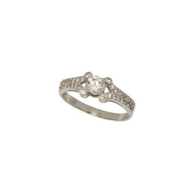 Γυναικείο μονόπετρο δαχτυλίδι σε λευκό χρυσό Κ14 με λευκά ζιργκόν f44bcb149b3