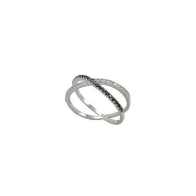 Γυναικείο Δαχτυλίδι 14Κ λευκό Χρυσό με μαύρα και λευκά ζιργκόν 0a0680c1275