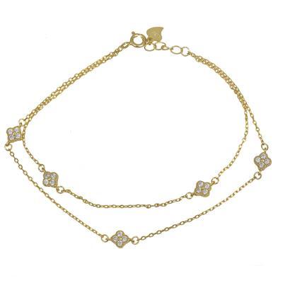 Βραχιόλι με διπλή αλυσίδα 925 με πετράτα σταυρουδάκια 030089 030089 Ασήμι 12ddce201c9