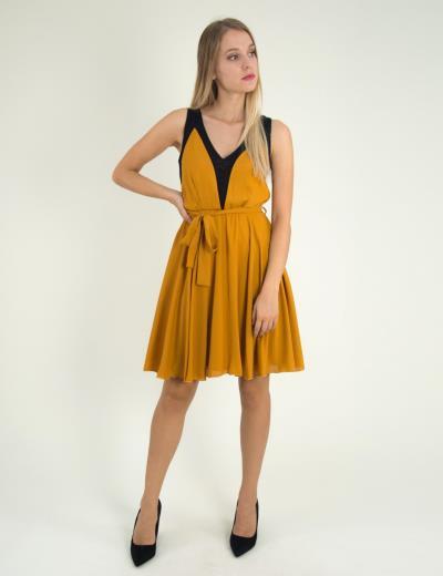4d9bc5dd588 Γυναικείο ώχρα αμάνικο φόρεμα κλος τούλι 8317229G