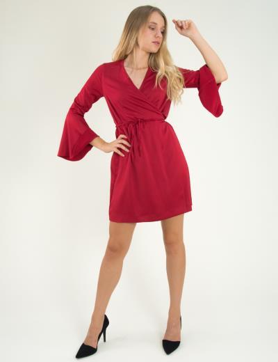 Γυναικείο φόρεμα ντραπέ με καμπάνα στο μανίκι κόκκινο 8112199 ef7465c007f