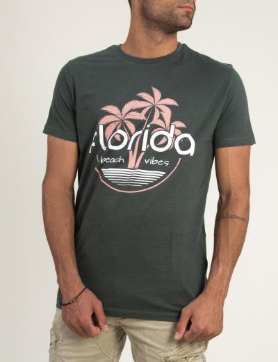 af0da8ccb066 Ανδρική κοντομάνικη μπλούζα με τύπωμα Brothers χακί 5041F