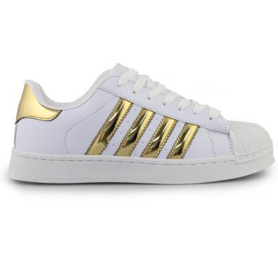 Γυναικεία sneakers με ρίγες Λευκό Χρυσό cf70ddf9804