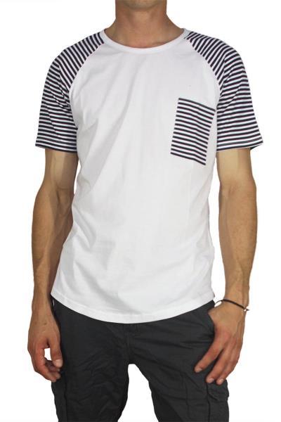 Bigbong longline t-shirt λευκό με ριγέ μανίκια - a13-103 810704886d7