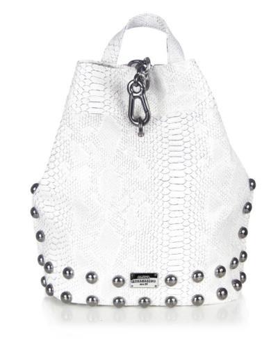 83a846b705 Elena Athanasiou - Black n Metal Backpack Croco Pattern White Silver -