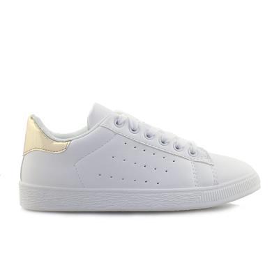 Γυναικεία sneakers μονόχρωμα περφορέ Λευκό Χρυσό f10a838b018