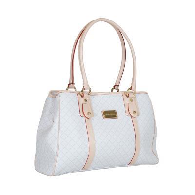 405b2e9c26 Τσάντα Ώμου Τρίχωρη La Tour Eiffel Logo-Δέρμα 10393 Λευκή-Μπεζ