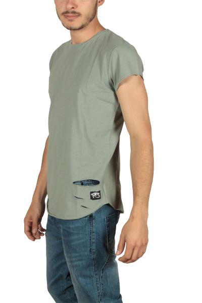 Oyet ανδρικό T-shirt χακί με σκισίματα - m-13s-kh 2eaedba7bd4