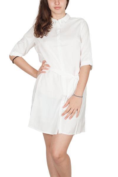 4beaa65c1898 Σεμιζιέ μίνι φόρεμα λευκό με τρουακάρ μανίκια - d598-wh