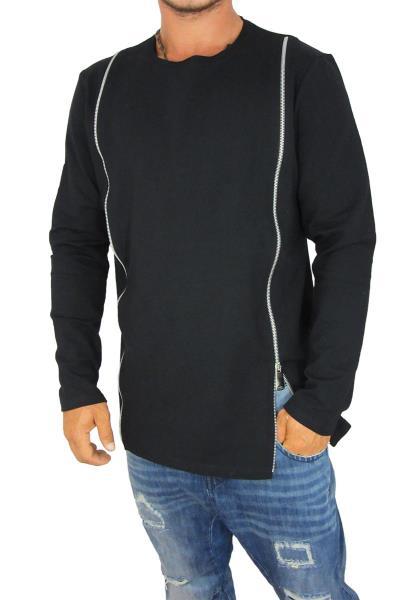 6644162e478f Ανδρική longline φούτερ μπλούζα Humanism μαύρη με φερμουάρ - hu-1514