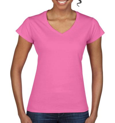 1266cd7f9f27 Ladies Softstyle V-Neck T-Shirt Gildan 64V00L - Azalea