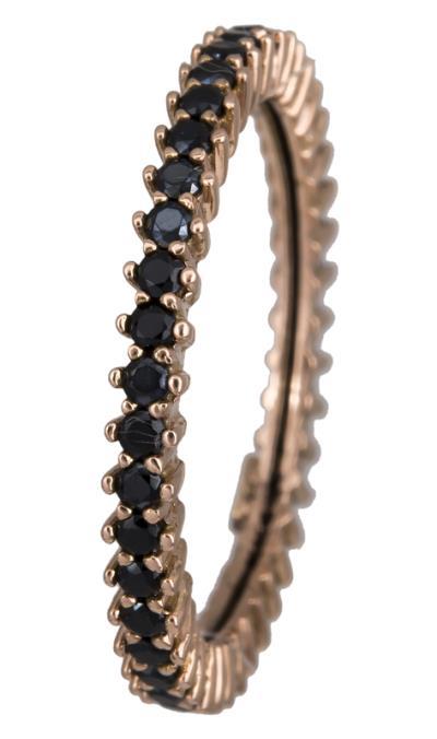 Ολόβερο δαχτυλίδι με μαύρες ζιργκόν Κ14 021873 021873 Χρυσός 14 Καράτια cfa40660220