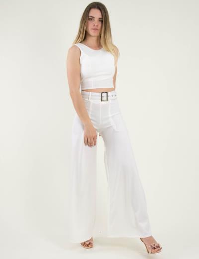 987a9a505ef9 Γυναικείο λευκό σετ παντελόνα καμπάνα ζώνη τοπ 250079