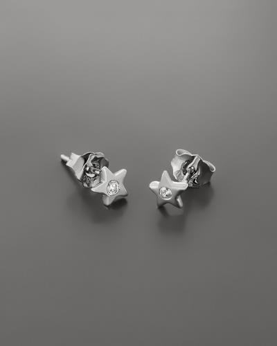 Σκουλαρίκια αστέρι λευκόχρυσα Κ14 με ζιργκόν 0ab951079bc
