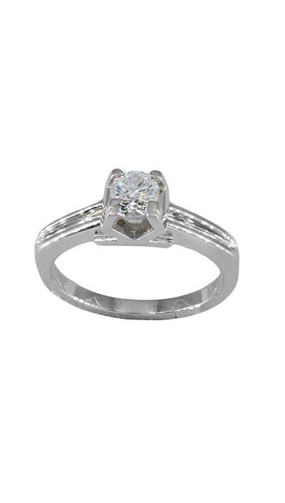 Δαχτυλίδι μονόπετρο λευκόχρυσο 18 καράτια με μπριγιάν f94884ed145