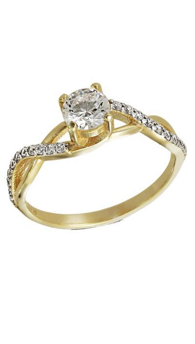 Δαχτυλίδι μονόπετρο χρυσό 14 καράτια με λευκά ζιργκόν swarovski® 77288e5f4de