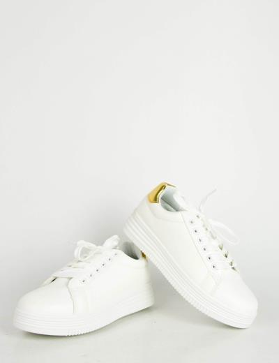 Γυναικεία λευκά χρυσό μονόχρωμα Sneakers κορδόνια LBS6516F f315a0abd70