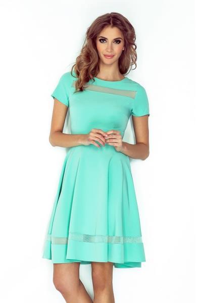 324360de145f 70089 NU Κοντομάνικο φόρεμα με διαφάνειες - μέντα