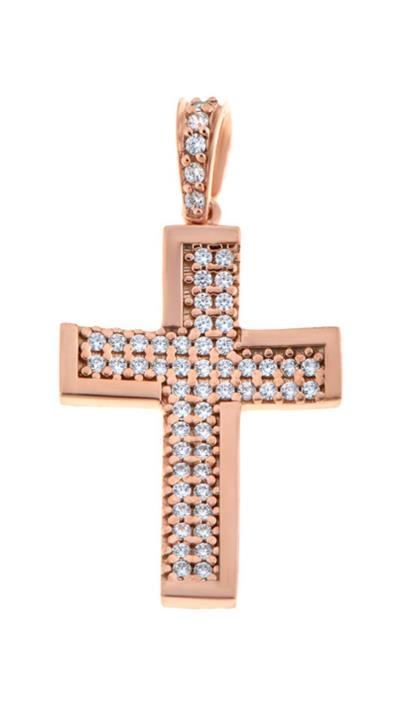 7dbccbc161 Σταυρός Facad oro ροζ χρυσός 14 καράτια με ζιργκόν