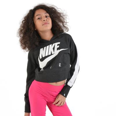 aa3183a9d6c Nike Air Kid's Hoodie AQ8844-032 - BLACK HEATHER/WHITE/WHITE