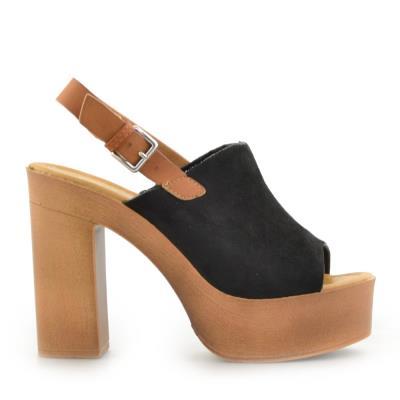 4a57a49ab06 Γυναικεία πέδιλα peep toe με φιάπα Μαύρο