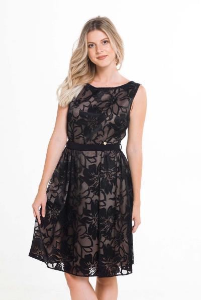 Φόρεμα αμάνικο ζακάρ φούστα σούρες πλάι - 17541 b0a34319d29