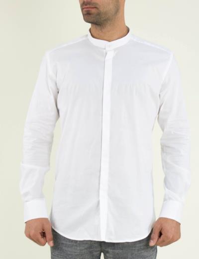 2e60e806c8be Ανδρικό λευκό πουκάμισο μονόχρωμο μαο Firenze 1183102F