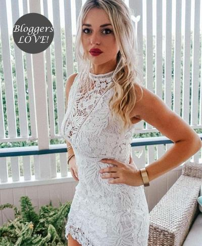 2a32b8c4cc0c blogger girly white out mini crochet φόρεμα δαντέλα