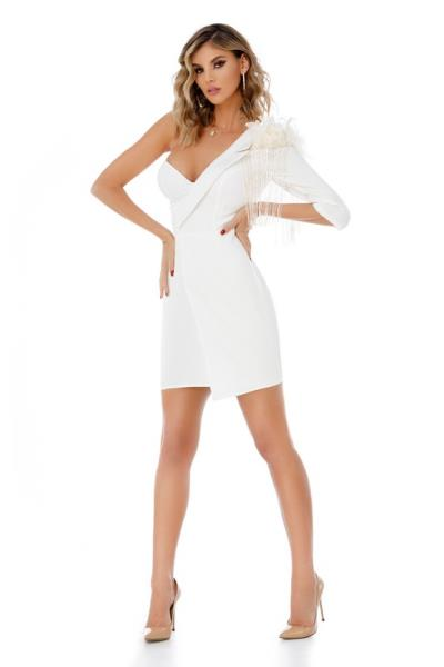 d67f04c3b8a9 9307 RO Μίνι φόρεμα με φτερά και διακοσμητικές λεπτομέρειες - Άσπρο