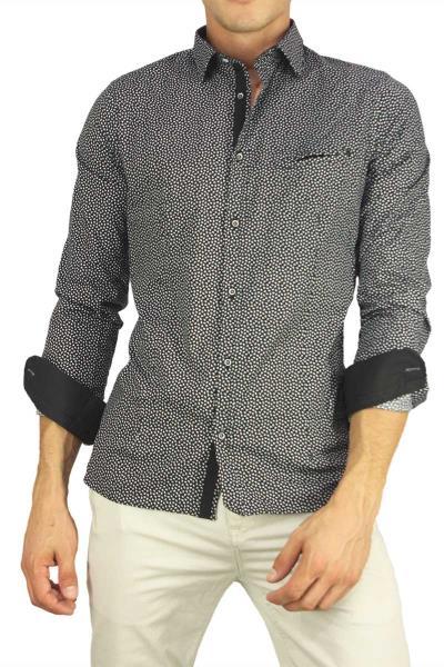 64a3095bac7c Ανδρικό πουκάμισο μαύρο με λευκό πριντ - bc-s16195-blk
